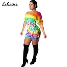 цена на Echoine Women Summer Sexy Tie Dye Print Dress Women Oblique shoulder Short Sleeve T Shirt Lace Up Casual Mini Dress