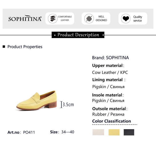 SOPHITINA Women Pumps Solid Shallow Square Toe Square Heel High Quality Cow Leather Comfortable Casual Shoes