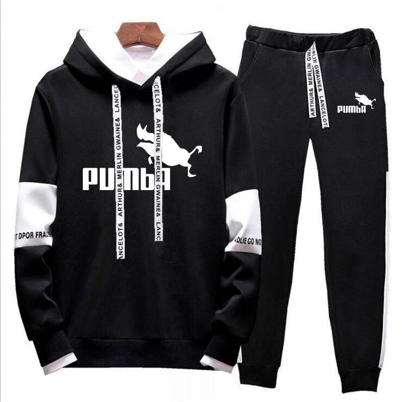 2019 Brand Men Thermal Underwear Pumba Tracksuit Men Sportswear Sets Fleece Thick Hoodie+Pants Sporting Suit Malechandal Hombre