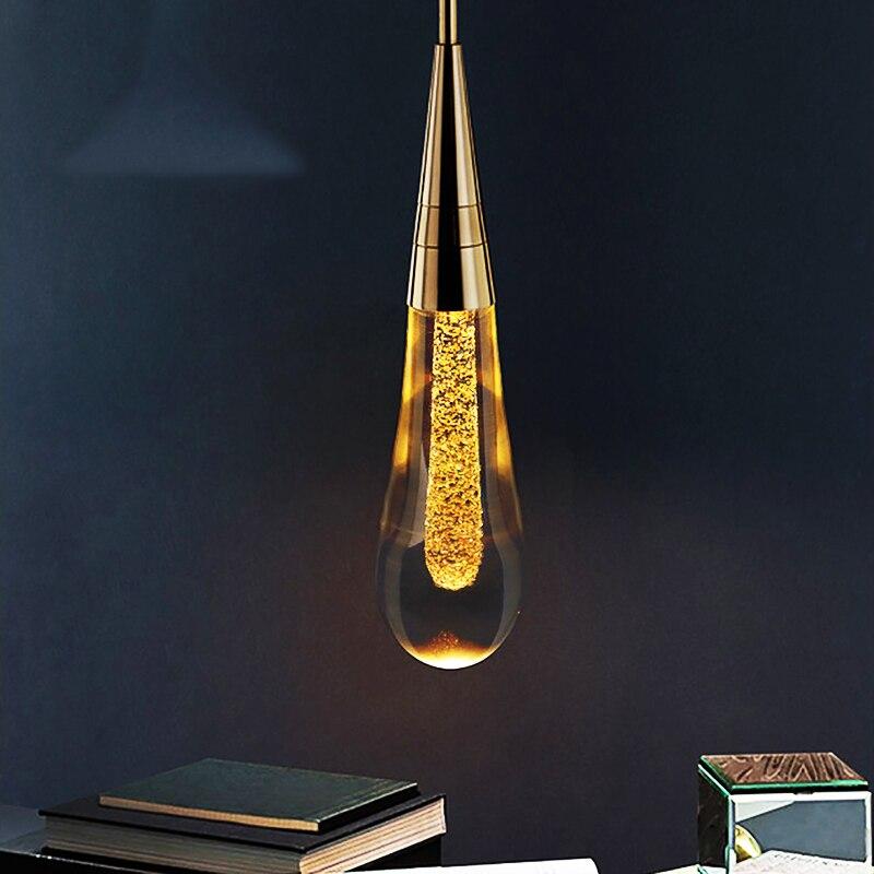 Moderne cyrstal luxe pendentif lumières plaqué or cuisine hôtel hall nordique lumière suspension lampe chambre pendentif lampe éclairage