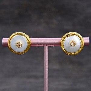 GG ювелирные изделия Розовый Cz 16 мм пресноводный из белого жемчуга-Монетка позолоченные серьги-гвоздики