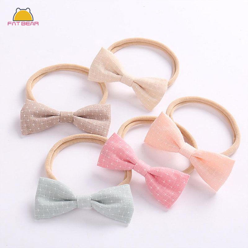 Cute Bow Baby Headbands For Girls Handmade Solid Elastic Nylon Knot Baby Headband Hairbands Newborn Childern Hair Accessories