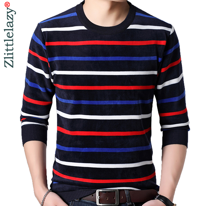 2019 Striped Thick Warm Winter Striped Knitted Pull Sweater Men Wear Jersey Mens Pullover Knit Mens Sweaters Male Fashions 9308