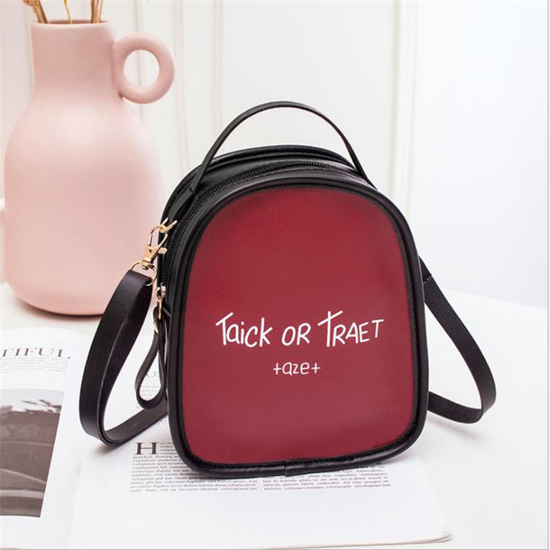 Korean Version Of Color Matching Ladies Printed Letter Small Backpack 2019 Product Slung Shoulder Shoulder Purse