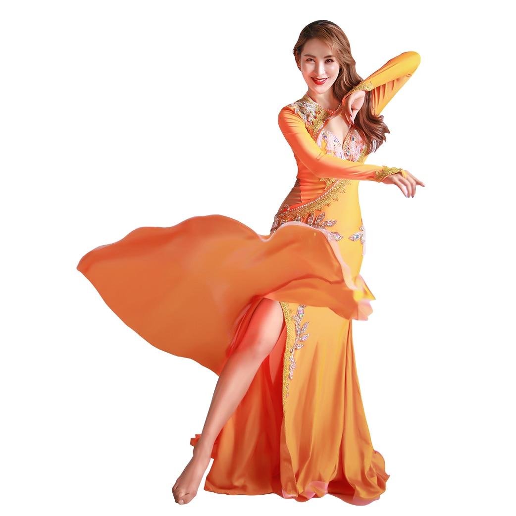Women Luxury Belly Dance Costume Set Silk Long Robes Bellydance Practice Clothes Dancer Fall Autumn Dancewear Dancing Clothing