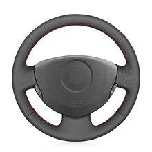 יד תפור שחור PU דמוי עור רכב הגה כיסוי עבור רנו קליאו 2 2001 2008 Twingo 2 2007 2014 Dacia Sandero