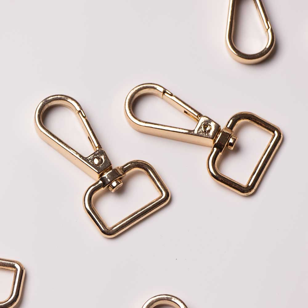 2PCS Metal Clasps Lobster Bag Handbag Swivel Trigger Clips Snap Hook Gold