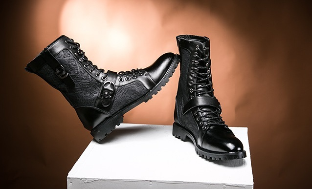 Mens New Style Lace-up Zip Buckle Dress Boots Fashion Mens Low Heel Ankle Boot Genuine Leather Breathable  Martin Boots For Men