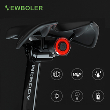 NEWBOLER Bicycle induction Taillight Auto-Start/Stop MTB Bike LED Light Waterproof Cycling Rear Lights USB Charge 24h Work Time
