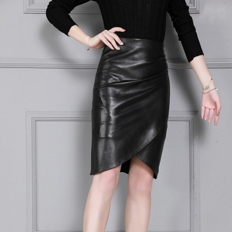 Top Quality Women Genuine Leather Sheepskin Skirt Office Ladies Knee Length High Waist Wrap A Line Leather Skirts Plus Size 4XL