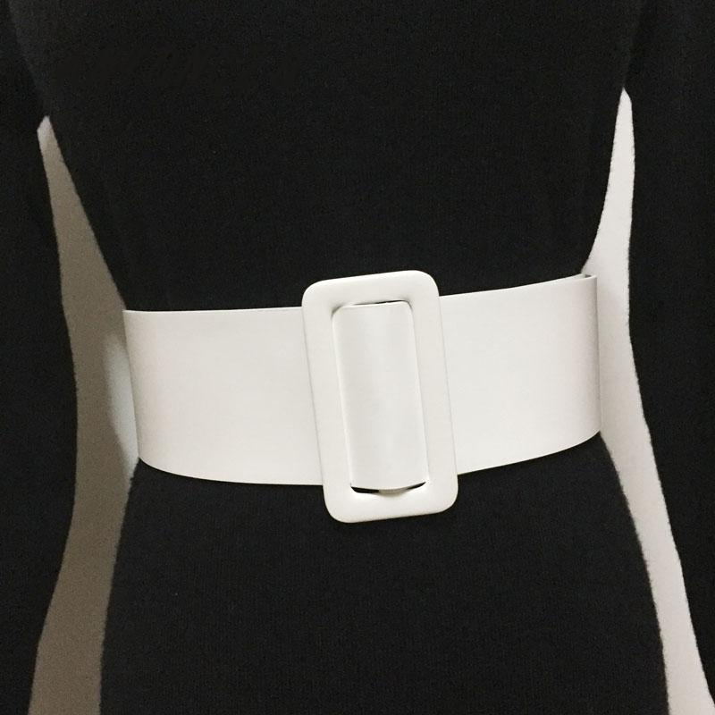 Ms Waist Sealing Wide PU Leather Decoration Skirt Shirt Dress Round Buckle Rectangle Black White Belt Simple Versatile Belt 107C