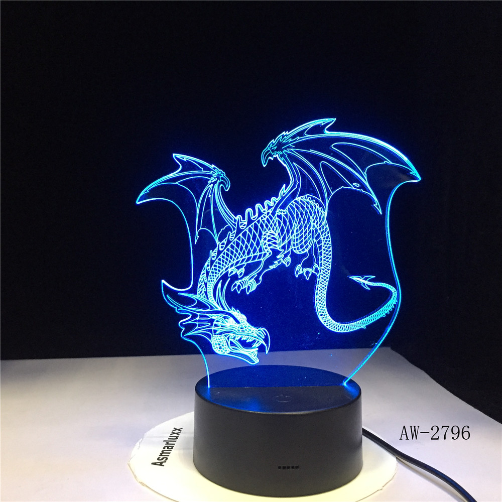 Cut Flying Dragon 3D LED Night Light 7 Colors Change Table Xmas Gift Ancient Dragon Art Home Decor Lamp Dropshipping AW-2796