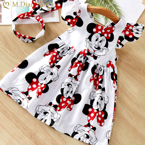 Hot 2020 New Summer Dress Toddler Kids Baby Girls Lovely Birthday Clothes Cartoon Minnie Off-shoulder Ruffles Party Gown Dresses