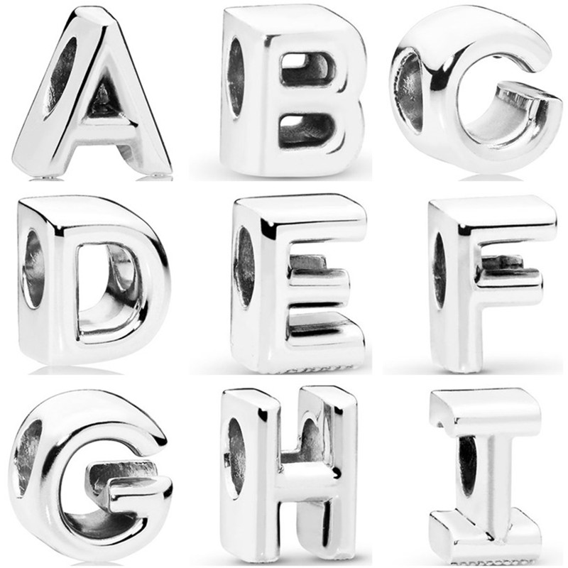 Simple Style Vintage Alloy 26 Letter Beads Fit Original Pandora Charms for Women Birthday Gift Handmade Jewelry(China)