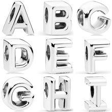 Pingente estilo simples de liga de 26 letras, miçangas compatíveis com pandora para as mulheres, presente de aniversário, joia feita à mão