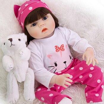 NPKDOLL 23 Inch Lifelike Full Body Silicone Reborn Dolls Pure Handmade Girl toddler bebe reborn Toy Doll gift