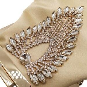 Image 3 - ブティックデfggダイヤモンド女性サテンイブニング財布バッグウェディングカクテル金属クラッチハンドバッグブライダルクリスタルクラッチトートバッグ