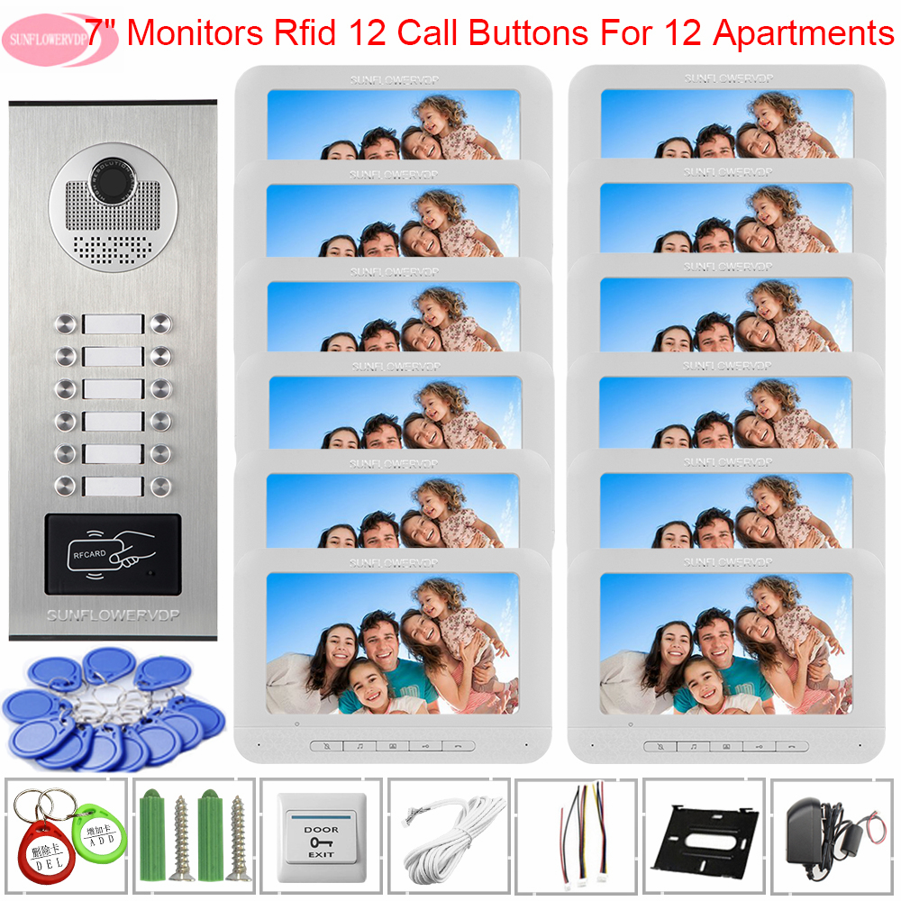 Intercom System 7inch Color Monitors Intercom For A Private House Access Control Video Door Phone Intercom For 12 Apartments Kit