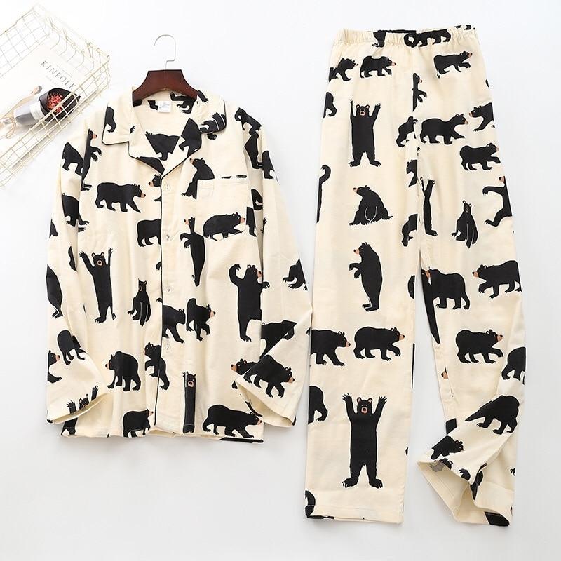Black Bear Print Brushed Cotton Men Pajama Sets Fashion Spring Casual Fashion Animal Sleepwear Men Homewear Sexy Pijamas Mujer
