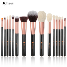 DUcare brushes Black 15PCS Makeup brushes Professional Make up brushes Natural hair Foundation Powder Highlight Brush Set