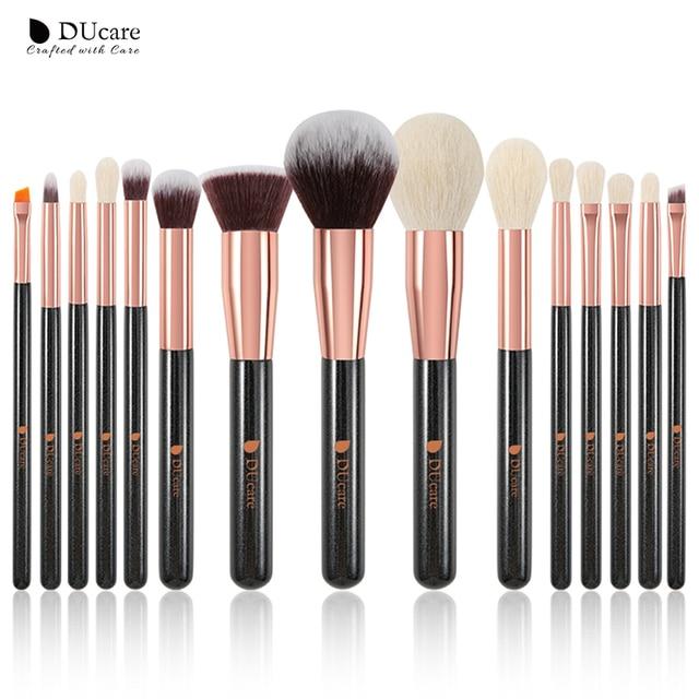 DUcare brushes Black 15PCS Makeup brushes Professional Make up brushes Natural hair Foundation Powder Highlight Brush Set