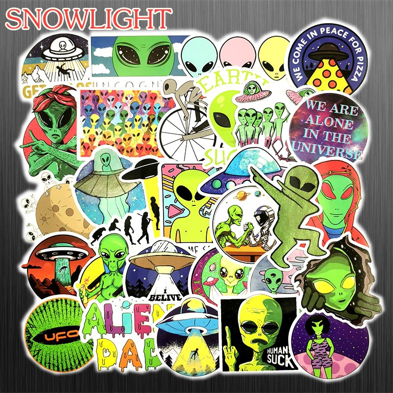 Hot 50 PCS/Set Cartoon ET Alien UFO Sticker For Luggage Laptop Fridge Notebook Skateboard Toy Sticker