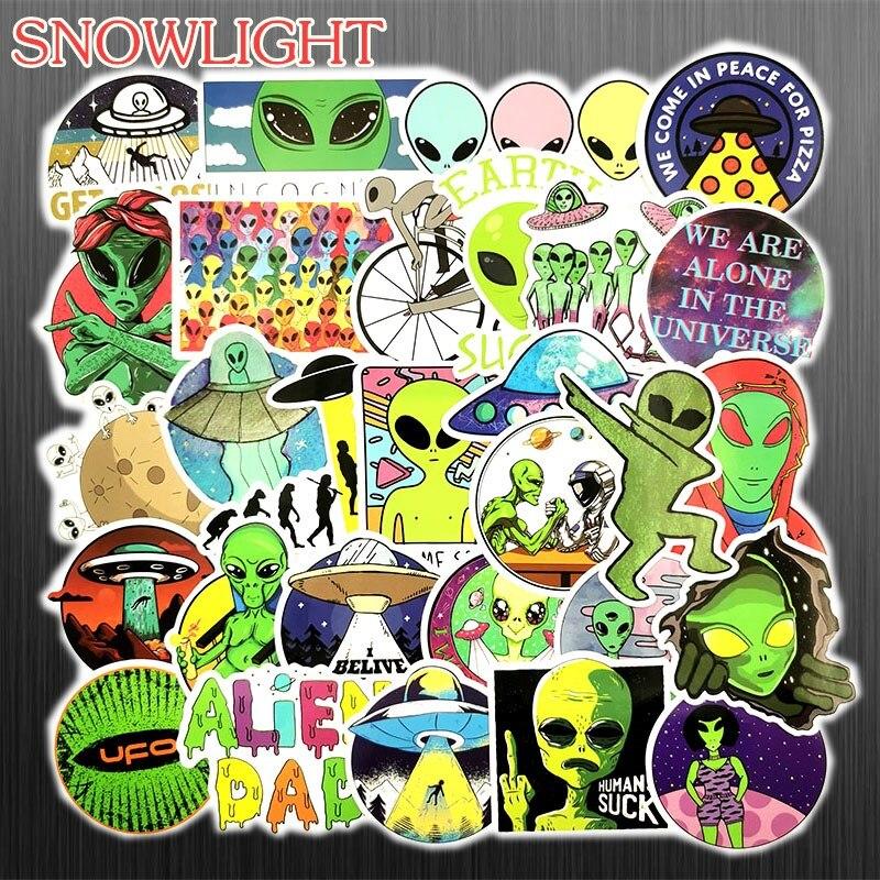 Hot 50 PCS/Set Cartoon ET Alien UFO Sticker For Luggage Laptop Fridge Notebook Skateboard Toy Sticker