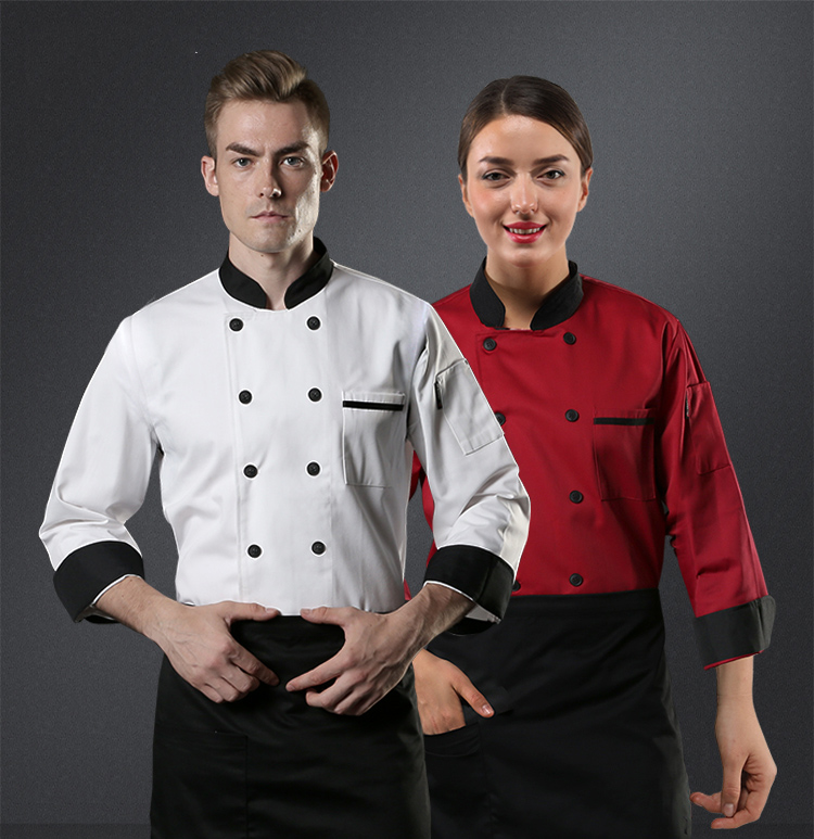 Details about  /Unisex Chef Uniform Long Sleeve Cook Jacket Coat Red Kitchen Workwear Top M-3XL