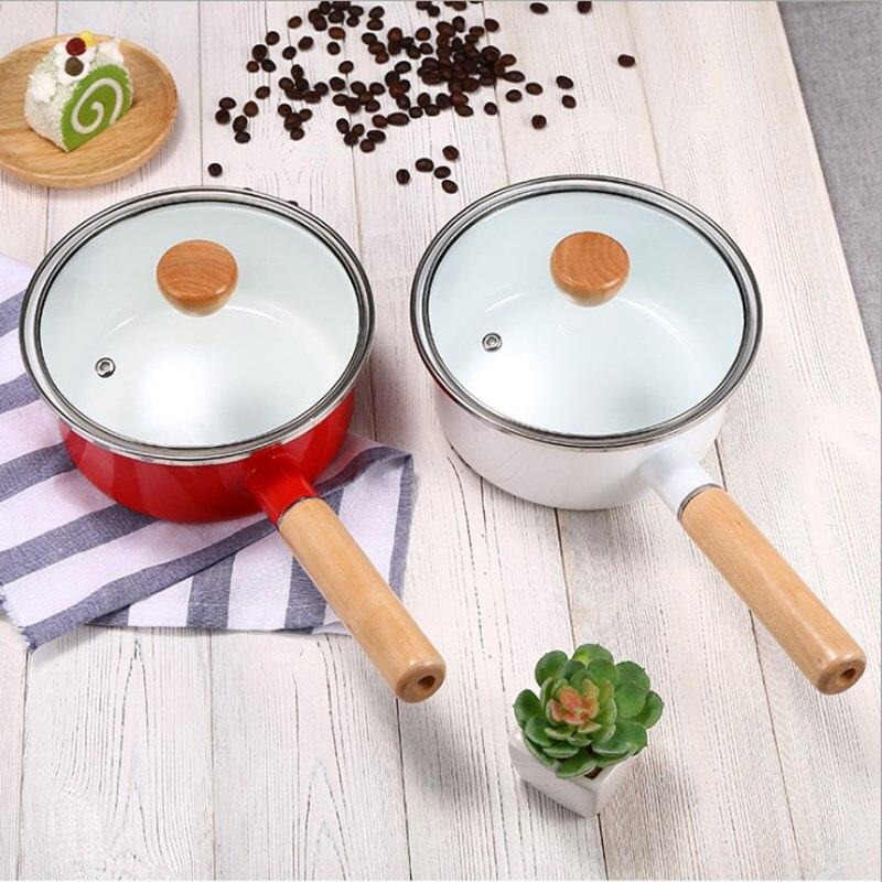 Корейский эмалированный суповый горшок с одной ручкой, молочный горшок с толстой эмалью, с одной ручкой, с деревянной ручкой, антипригарный