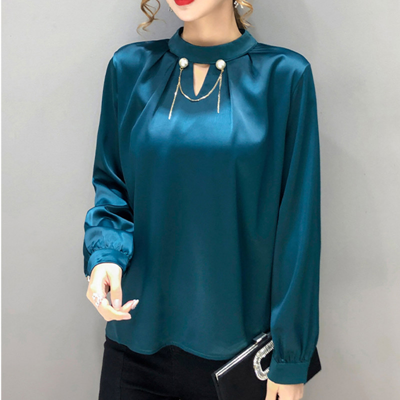 Silk Blouse Women Satin Long Sleeve Shirt Women Solid Beading Blouses Woman Silk White Shirts Elegant Woman Satin Tops Plus Size