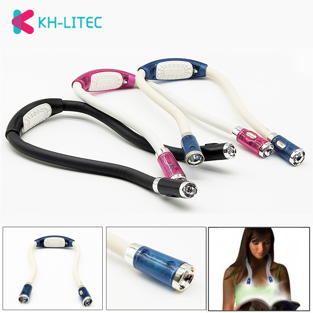 KHLITEC Convenient Flexible Handsfree Led Neck Hug Light Book Reading Lamp Novelty Led Night Flash Light Camping Light