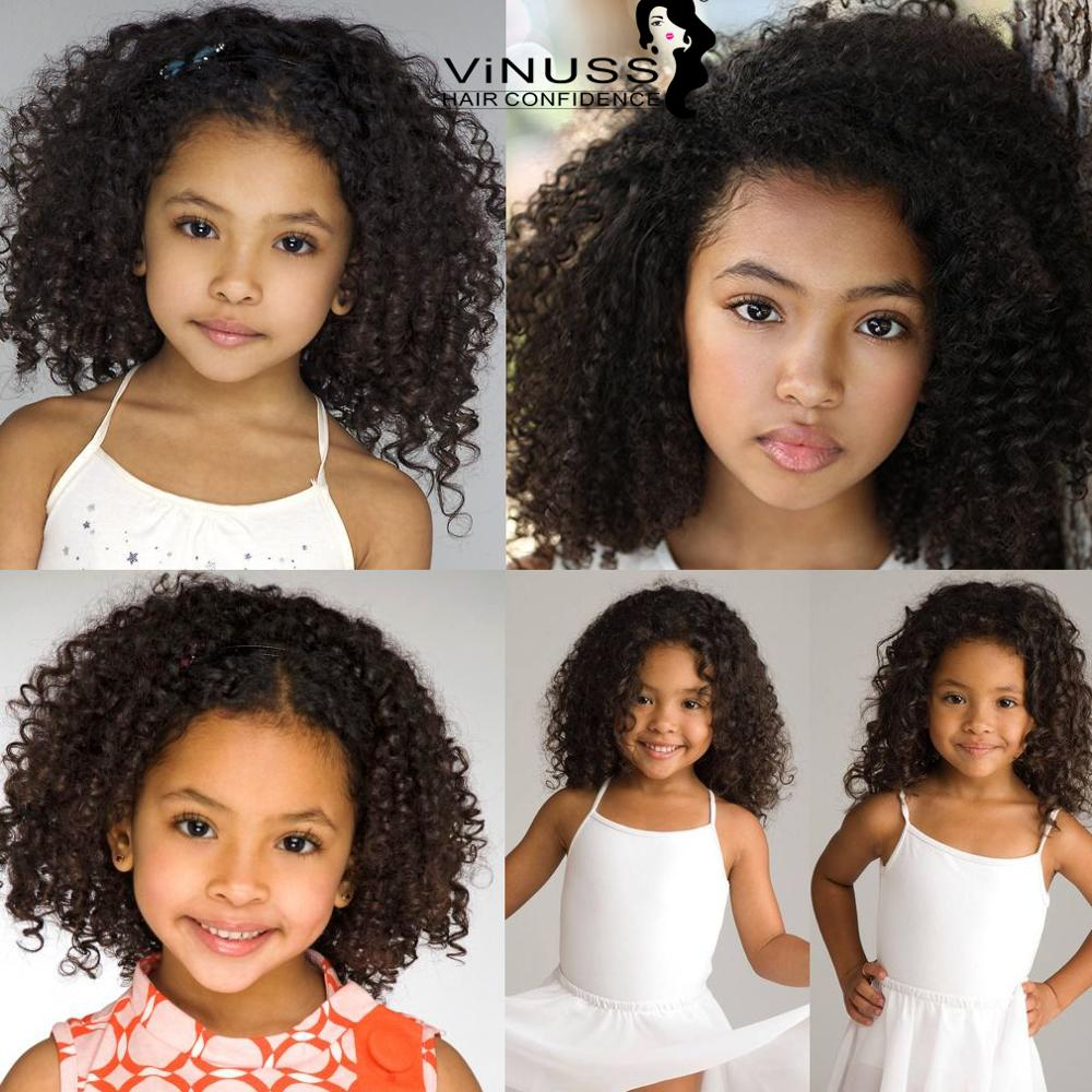 Customized Kids Lace Front Human Hair Wigs Kinky Straigth 360 Lace Frontal Wig Afro Curly Wig For Kids Pre Plucked Glueless
