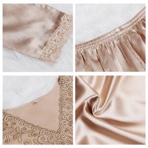 Image 4 - New Silk Sleepwear Women Sexy Couple Pajamas Spring And Summer High end Customized Silk Men Pijamas Set Lace Pyjamas