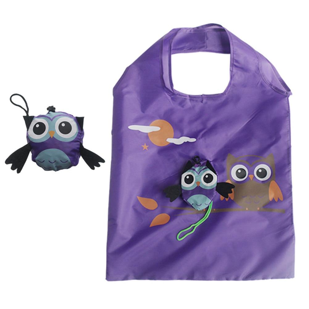 Foldable Shopping Bag Cute Cartoon Owl Eco Friendly Ladies Reusable Grocery Bag Tote Bag Lady Portable Travel Shoulder Bag