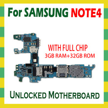 Unlock Mainboard For Samsung Galaxy Note 4 N910F N910C N910U N910A N910P N910V N910G N910T Motherboard 32GB Logic Board Android