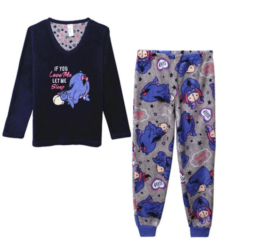 Eeyore Pajama Sleep Set Top And Pants Coral Velvet Pajamas Causal Adlut Suits Cosplay Costumes