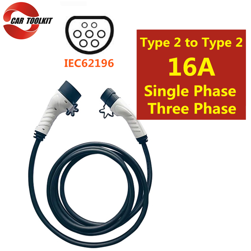 Three Phase 16A Type 2 to Type 2-5m Socket EV Charging Cable