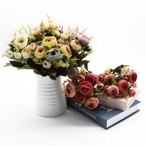 Image 4 - 10Heads/1 Bundel Zijde Thee Rozen Bruid Boeket Voor Kerst Thuis Bruiloft Nieuwe Jaar Decoratie Nep Planten Kunstmatige bloemen