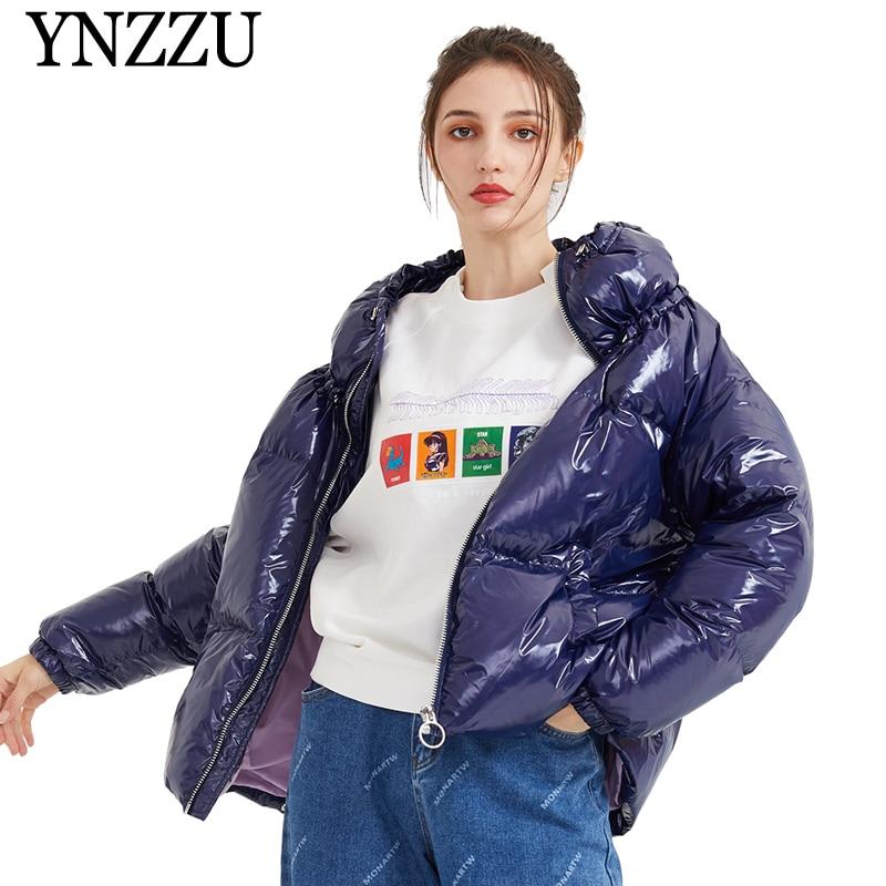 YNZZU New Chic Turtleneck Short Women   Down     coat   2019 Winter Thick Warm zipper   Down   jacket Long sleeve Loose light outwear YO903
