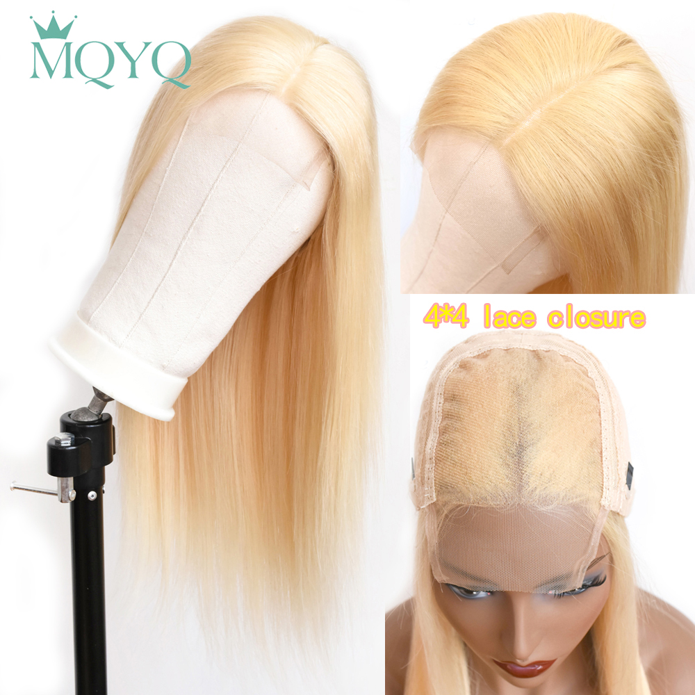 MQYQ 4x4 Lace Closure Wigs Baby Hair 613 Blonde Lace Closure Wig Non Remy Hair Straight Wigs For Women Malaysian Human Hair