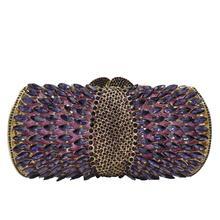 Boutique De FGG eleganckie fioletowe damskie kryształowe torby wieczorowe drążą panie diamentowe Minaudiere kopertówka ślubna i torebka