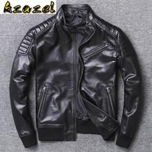 Azazel 2020 wiosna nowa skórzana kurtka mężczyzna płaszcz w stylu Shearling prawdziwe kożuch szczupła dorywczo Plus rozmiar stójka X-1933 tanie tanio Jest (pochodzenie) STANDARD NONE spandex Stałe Krótki Sheepskin MANDARIN COLLAR Na co dzień zipper Pełna leather jacket men