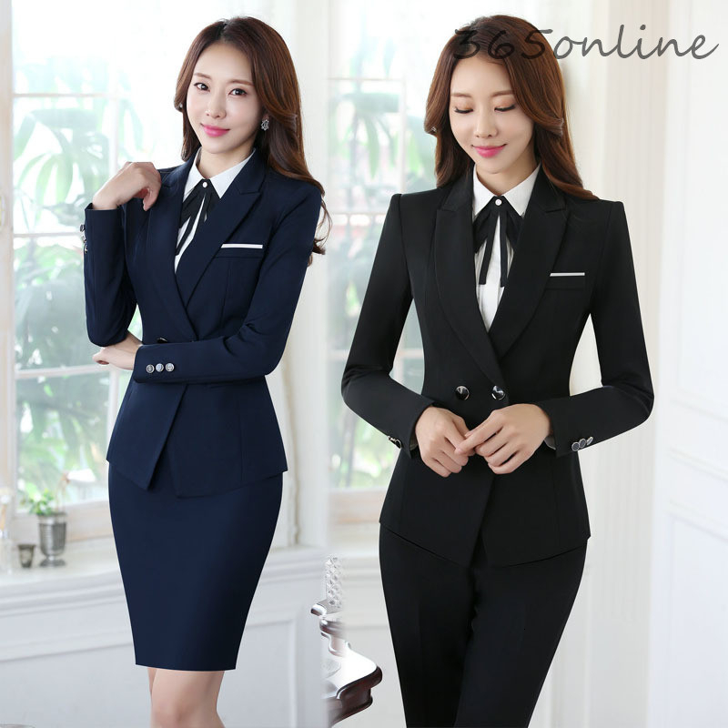 Autumn Winter Novelty Uniform Styles Formal Women Business Work Wear Suits Ladies Office Professional Blazers Set Pantsuits