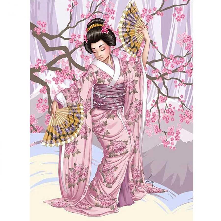 DIY 写真カスタム、 3d ダイヤモンド塗装クロスステッチキット 5D フル平方モザイクダイヤモンド刺繍日本の着物女性の家の装飾
