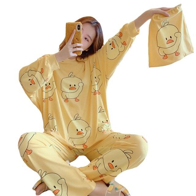 Winter Women Cute Flannel Pajamas Set Cartoon Little Yellow Duck O Neck Sleepwear Thickened Warm Cotton Pyjamas Home Clothing