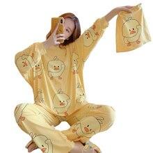 冬の女性かわいいフランネルパジャマセット漫画リトルイエローダックoネックパジャマ肥厚暖かい綿パジャマホーム服