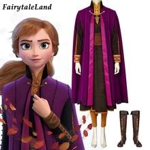 цена Newest Cartoon Princess Anna Costume Carnival Halloween Outfits Cosplay Anna Elsa Queen Costume Fancy Anna Dress Winter Coat  онлайн в 2017 году