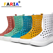 2020 summer fashion hollow out flat platform boots multi color shoes womens white Mid-Calf Zip Round Toe Flat with Solid sandals cheap FARIA Split Leather Adult Motorcycle boots NONE Spring Autumn Latex Med (3cm-5cm) 3-5cm Fits true to size take your normal size