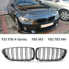2X углеродистая Решетка переднего бампера двойная линия гриль для BMW F32/F33/F36 4-Series F80 M3 F82/F83 M4