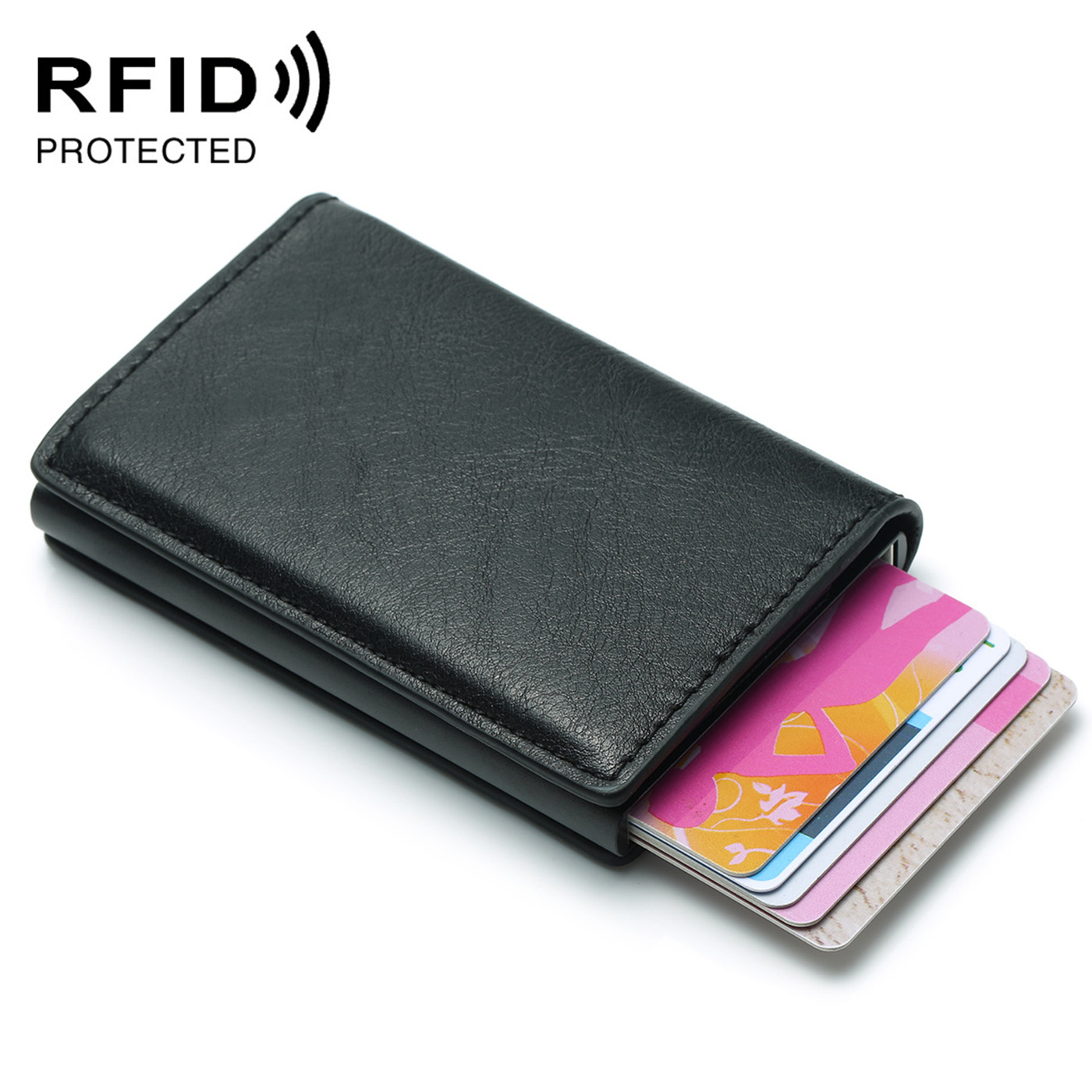 2019 Fashion Men's Credit Card Holder Anti RFID Blocking Leather Small Wallet ID Card Case Metal Protection Purse For Women